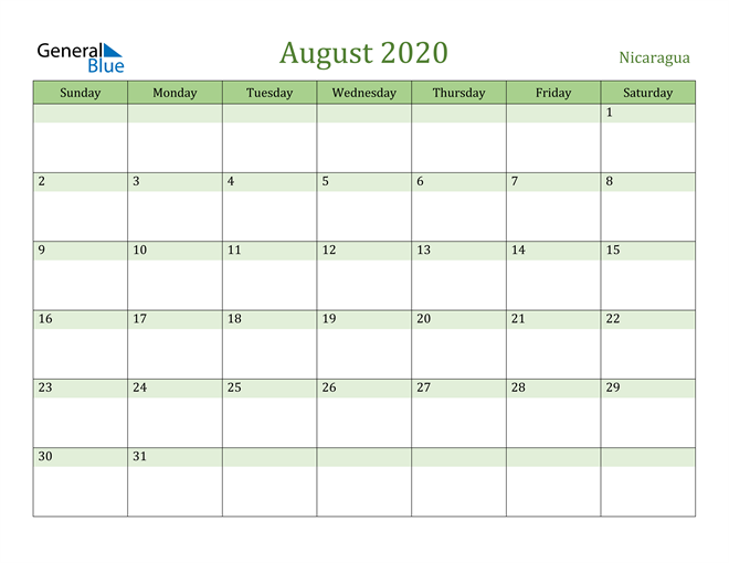 August 2020 Calendar with Nicaragua Holidays