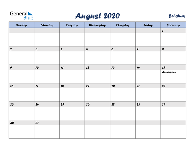 August 2020 Italicized and Cool Blue, A Fun Calendar in PDF, Word and Excel Calendar
