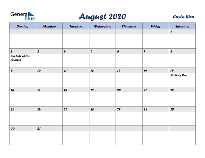 Image of August 2020 Italicized and Cool Blue, A Fun Calendar in PDF, Word and Excel Calendar