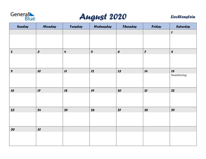 August 2020 Calendar with Holidays