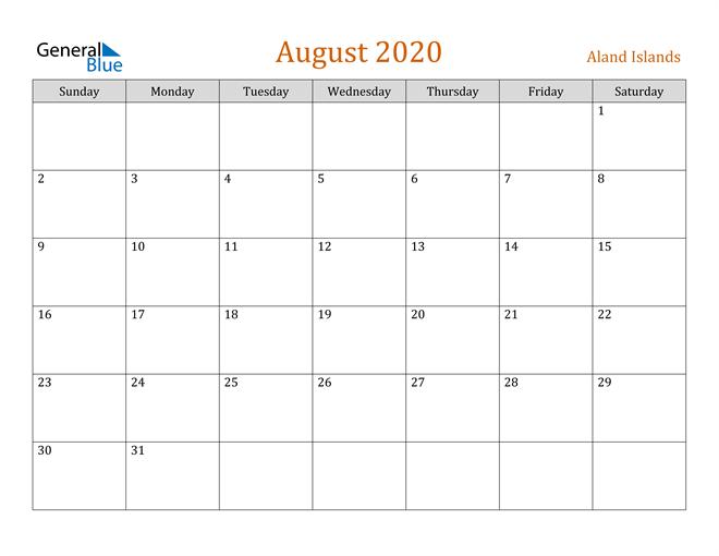 Image of August 2020 Contemporary Orange PDF, Word and Excel Calendar Calendar