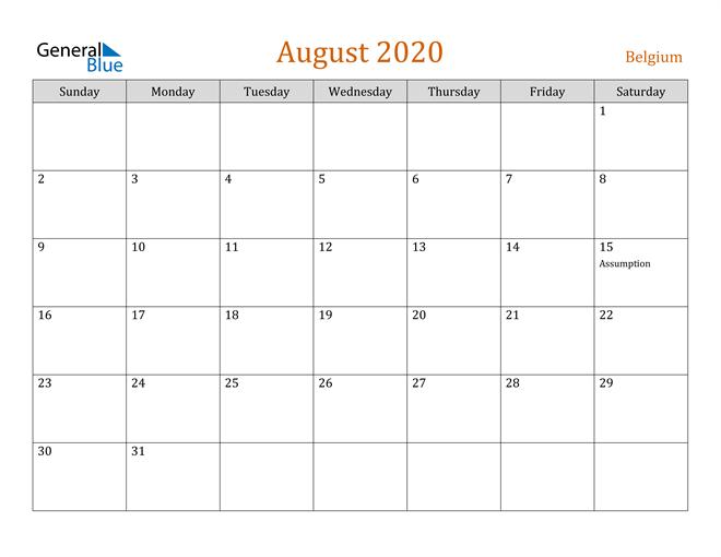 August 2020 Contemporary Orange PDF, Word and Excel Calendar Calendar
