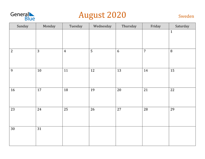 Image of August 2020 Contemporary Orange PDF, Word and Excel Calendar Calendar