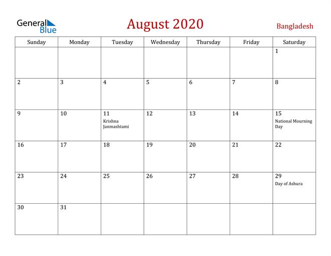 Bangladesh August 2020 Calendar