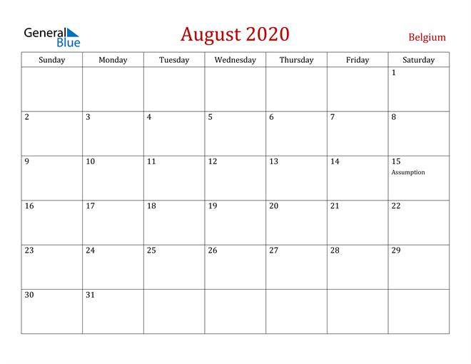 August 2020 Dark and Red Professional Office Calendar Calendar