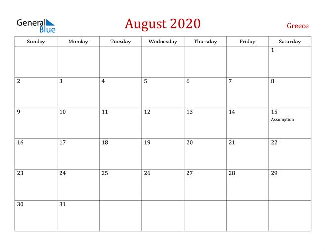 Greece August 2020 Calendar
