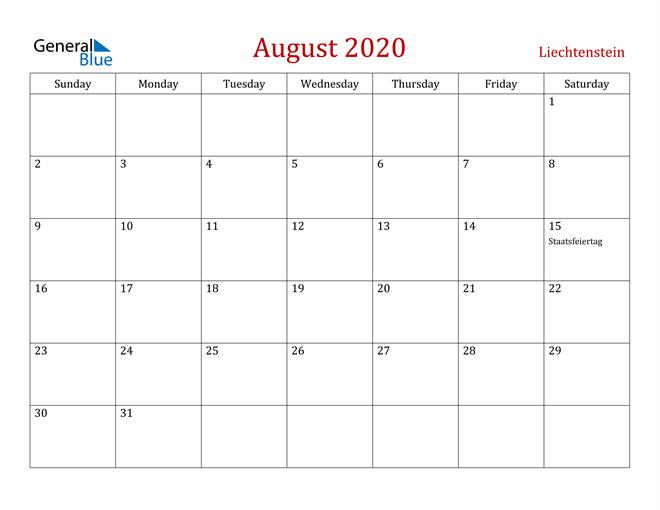 Liechtenstein August 2020 Calendar