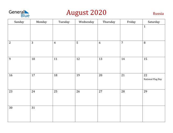 Russia August 2020 Calendar