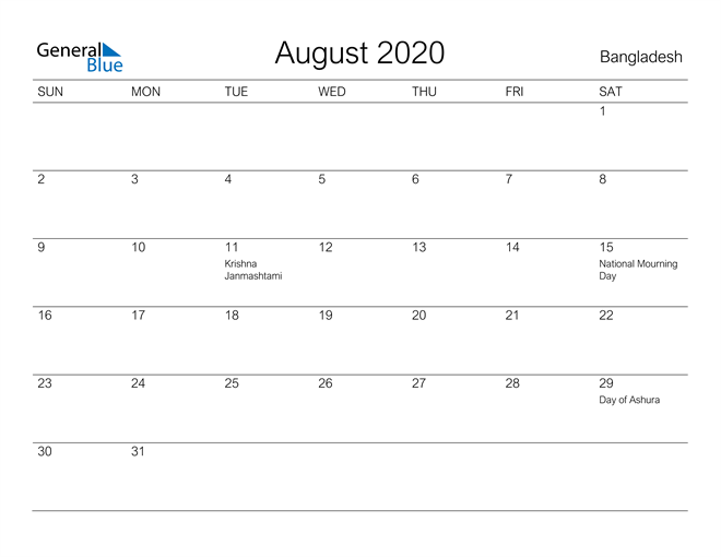 Printable August 2020 Calendar for Bangladesh
