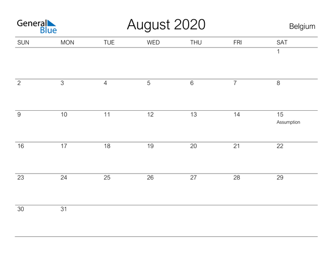 August 2020 A Streamlined Design, The Perfect Printable Calendar. Calendar