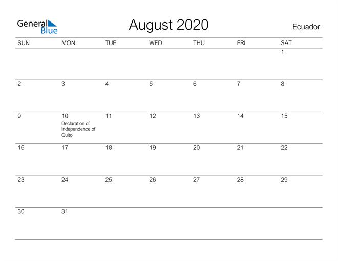 Image of August 2020 A Streamlined Design, The Perfect Printable Calendar. Calendar