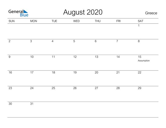 Printable August 2020 Calendar for Greece