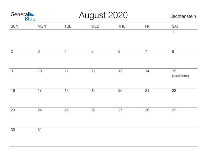 Printable August 2020 Calendar for Liechtenstein