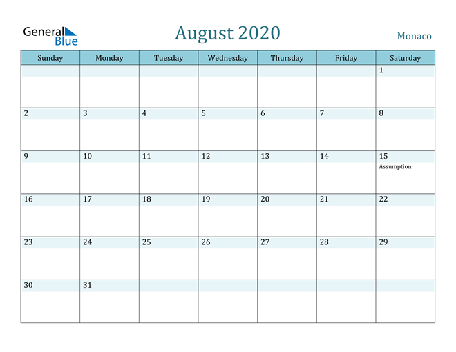 Image of August 2020 Colorful Turquoise Calendar in PDF, Word and Excel Calendar
