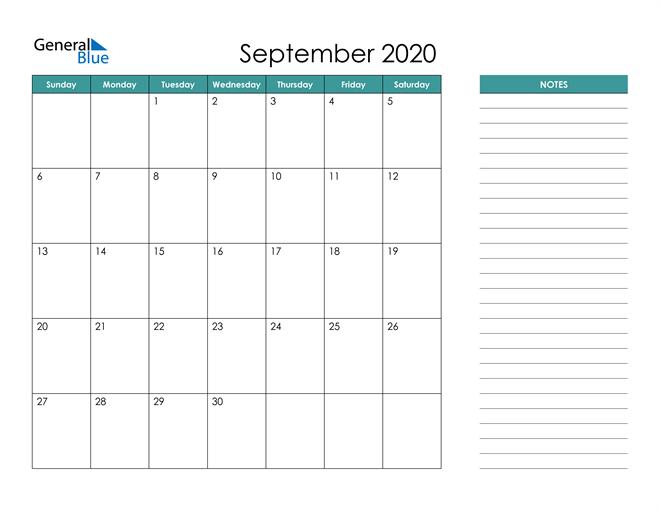 September 2020 Calendar with Notes