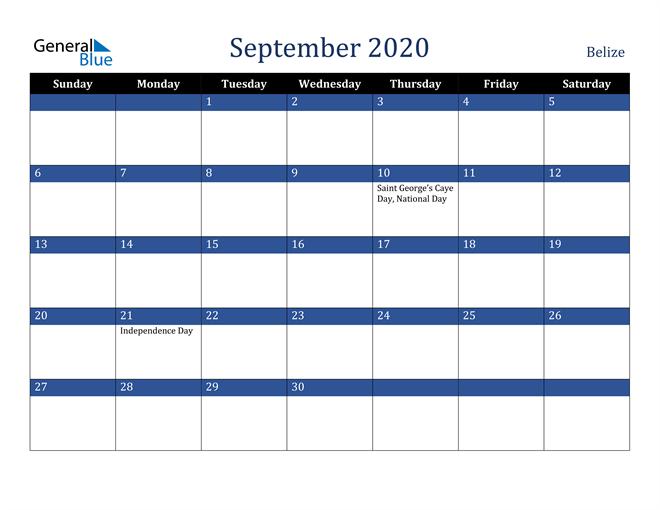September 2020 Belize Calendar