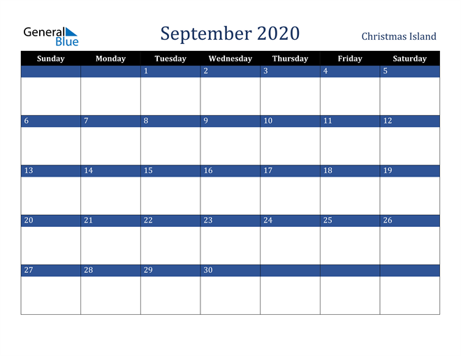 September 2020 Christmas Island Calendar