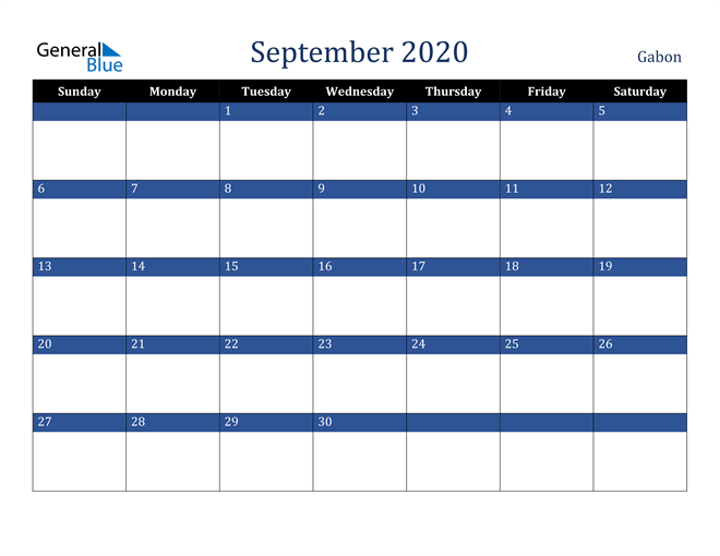 September 2020 Gabon Calendar