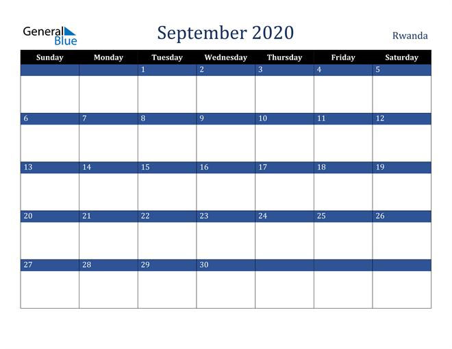 September 2020 Stylish Dark Blue Calendar in PDF, Word and Excel Calendar