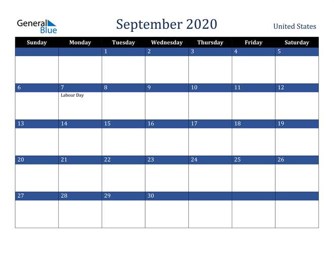 September 2020 United States Calendar