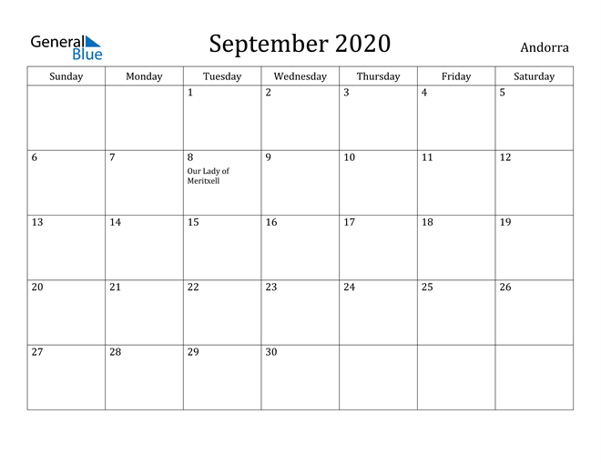 Image of September 2020 Andorra Calendar with Holidays Calendar