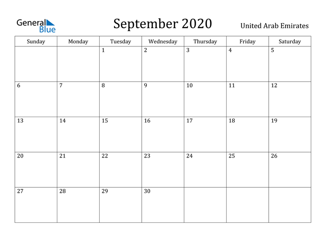 Image of September 2020 United Arab Emirates Calendar with Holidays Calendar