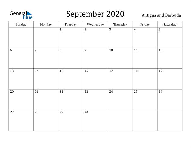 Image of September 2020 Antigua and Barbuda Calendar with Holidays Calendar