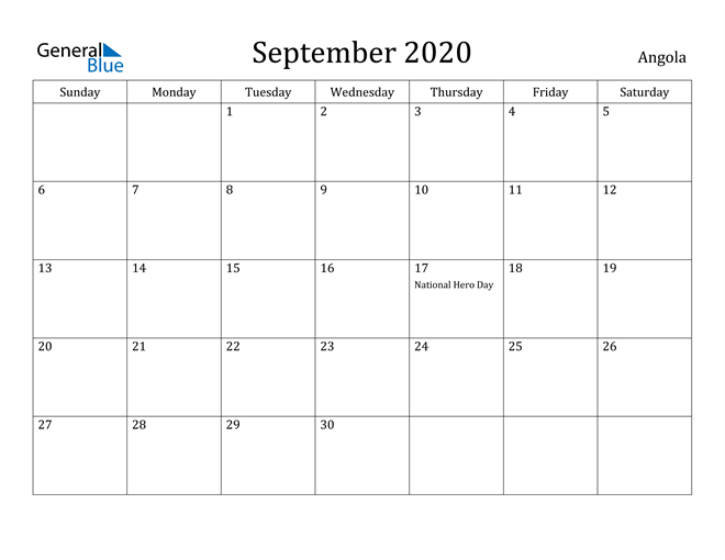 Image of September 2020 Angola Calendar with Holidays Calendar