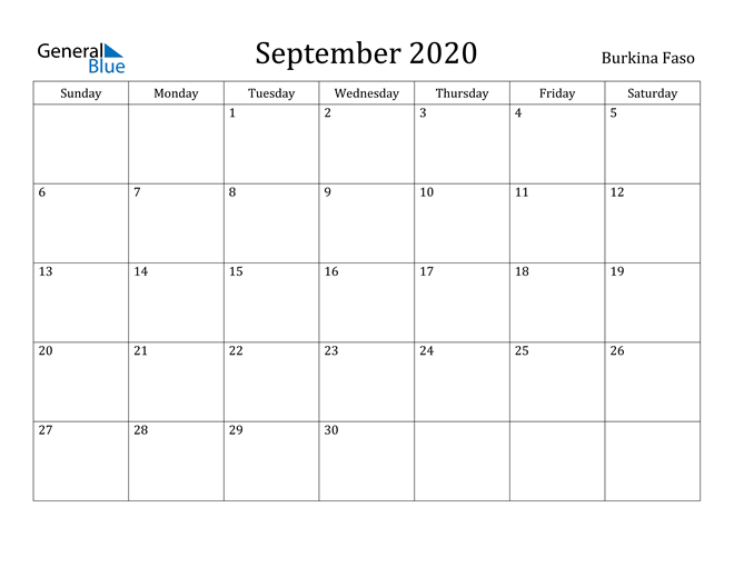 Image of September 2020 Burkina Faso Calendar with Holidays Calendar