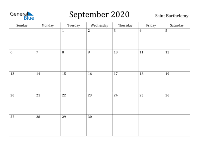 Image of September 2020 Saint Barthelemy Calendar with Holidays Calendar