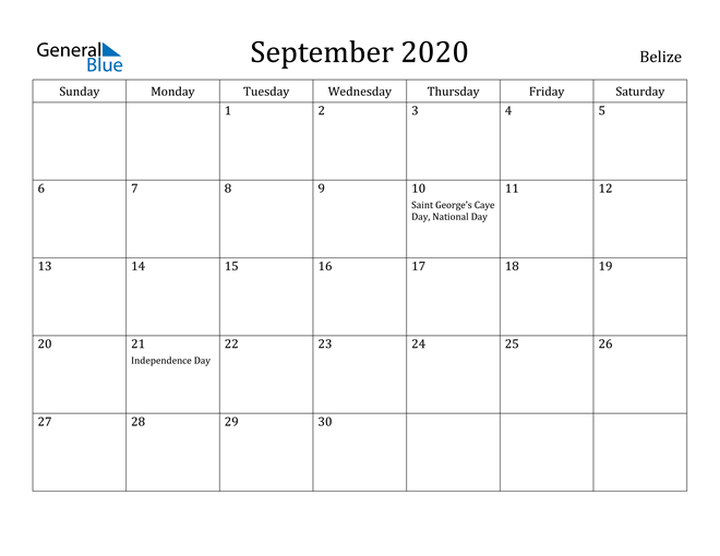 Image of September 2020 Belize Calendar with Holidays Calendar