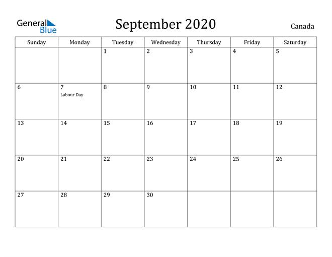 Image of September 2020 Canada Calendar with Holidays Calendar