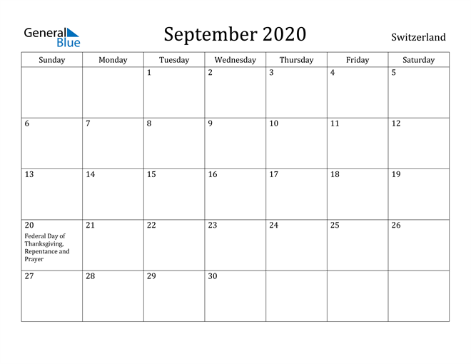 Image of September 2020 Switzerland Calendar with Holidays Calendar