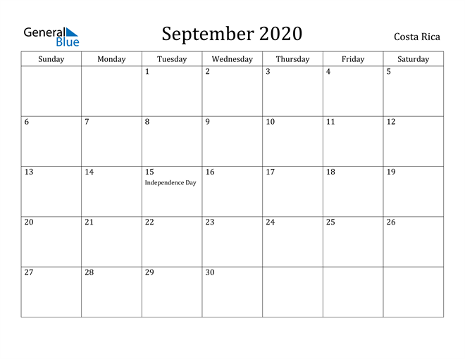 Image of September 2020 Costa Rica Calendar with Holidays Calendar