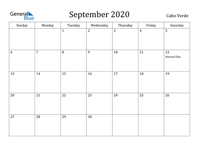 Image of September 2020 Cabo Verde Calendar with Holidays Calendar