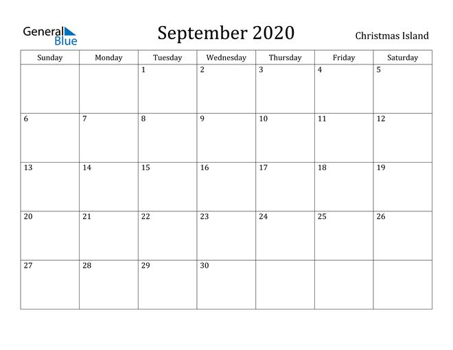 September 2020 Calendar Christmas Island
