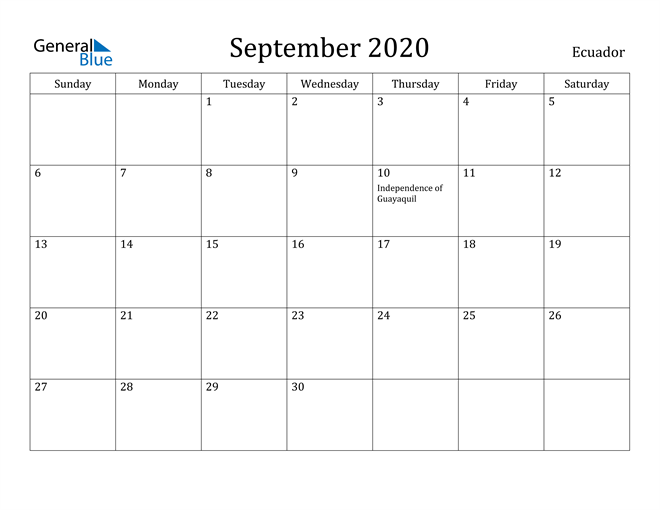 Image of September 2020 Ecuador Calendar with Holidays Calendar