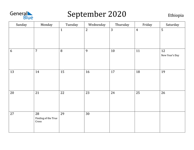 Image of September 2020 Ethiopia Calendar with Holidays Calendar