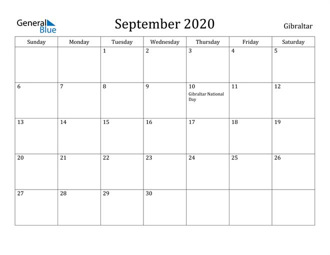 Image of September 2020 Gibraltar Calendar with Holidays Calendar