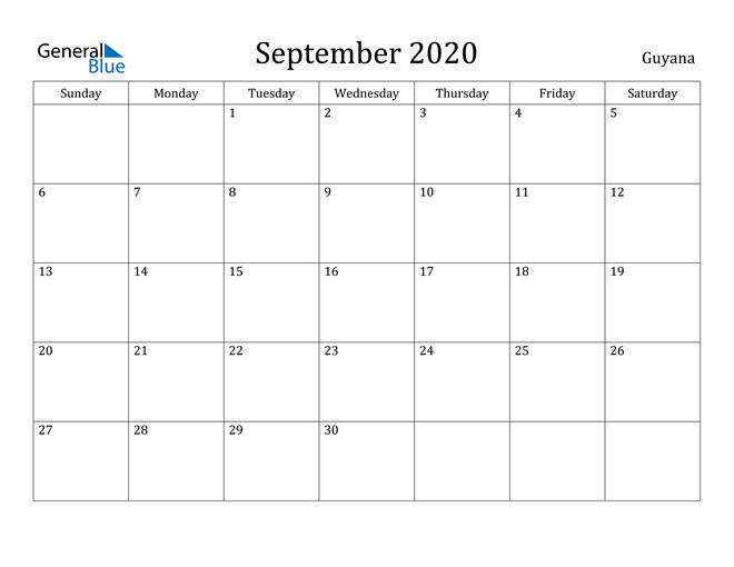 Image of September 2020 Guyana Calendar with Holidays Calendar