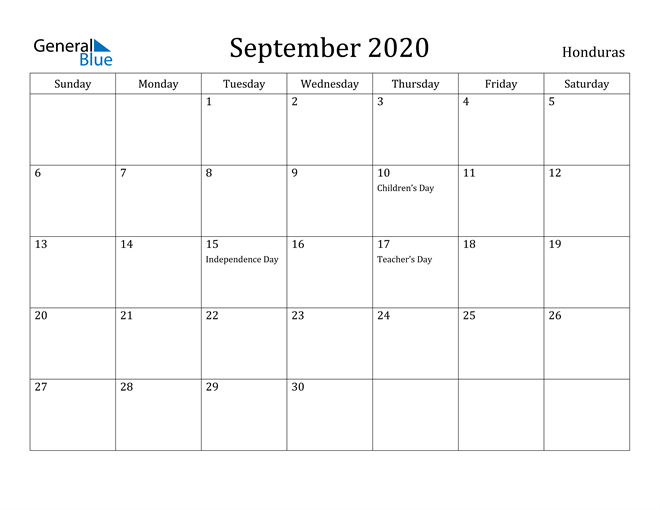 Image of September 2020 Honduras Calendar with Holidays Calendar