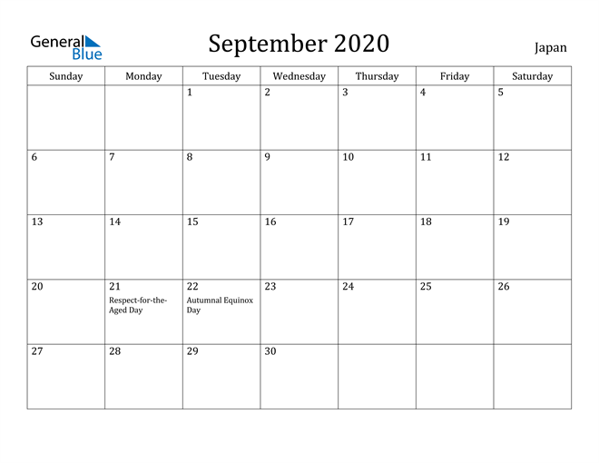 Image of September 2020 Japan Calendar with Holidays Calendar