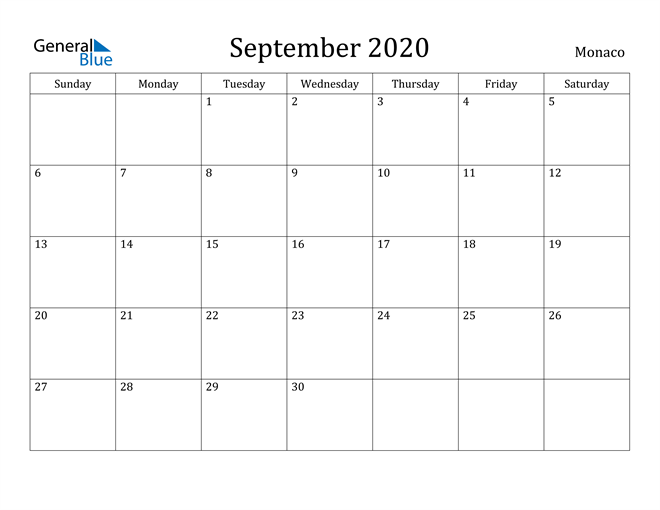 Image of September 2020 Monaco Calendar with Holidays Calendar