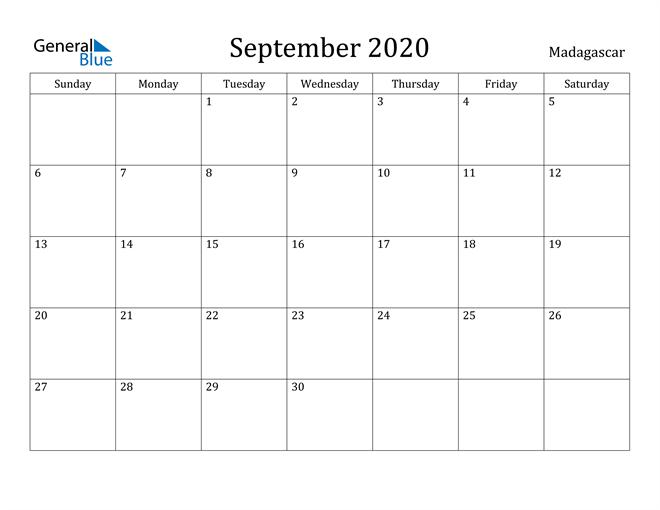 Image of September 2020 Madagascar Calendar with Holidays Calendar