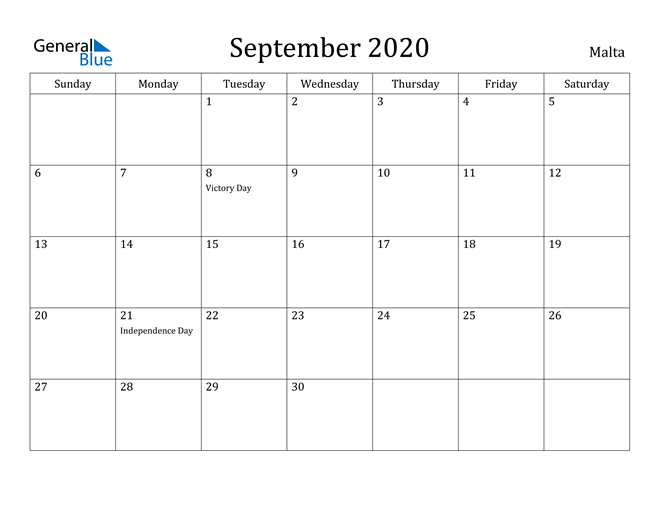 Image of September 2020 Malta Calendar with Holidays Calendar