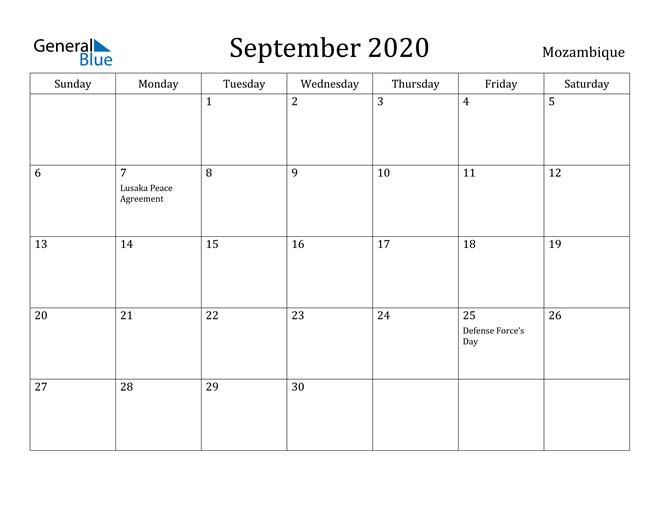 Image of September 2020 Mozambique Calendar with Holidays Calendar