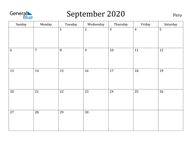 Image of September 2020 Peru Calendar with Holidays Calendar