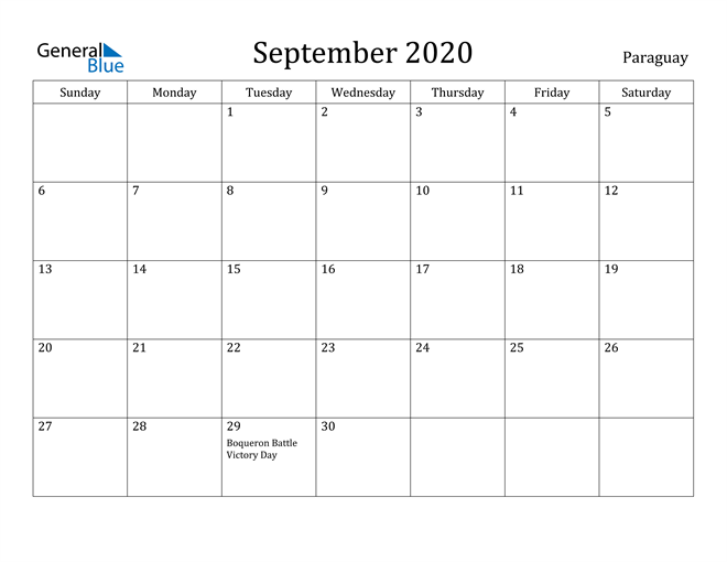 Image of September 2020 Paraguay Calendar with Holidays Calendar