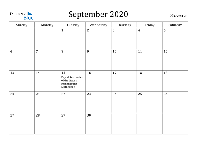 Image of September 2020 Slovenia Calendar with Holidays Calendar