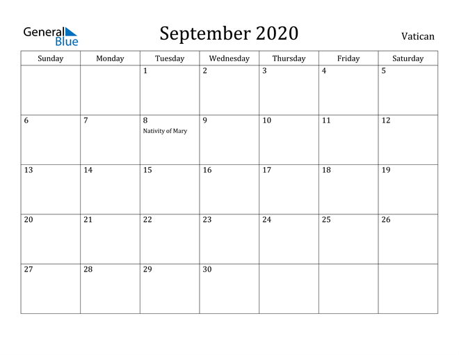 Image of September 2020 Vatican Calendar with Holidays Calendar